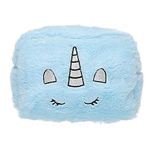 Hugmo Unicornio borroso bordado bolsa de maquillaje de viaje, kit de aseo, bolsa de cosméticos (azul)