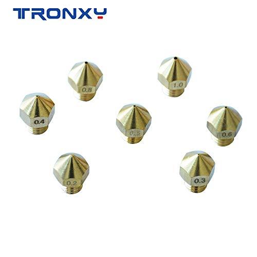 14 pcs MK8 Extruder Nozzle for 3D Printer TRONXY XY-2/XY-3 7 Different Sizes 0.2mm,0.3mm,0.4mm,0.5mm,0.6mm,0.8mm,1.0mm(Each Size 2PCS)