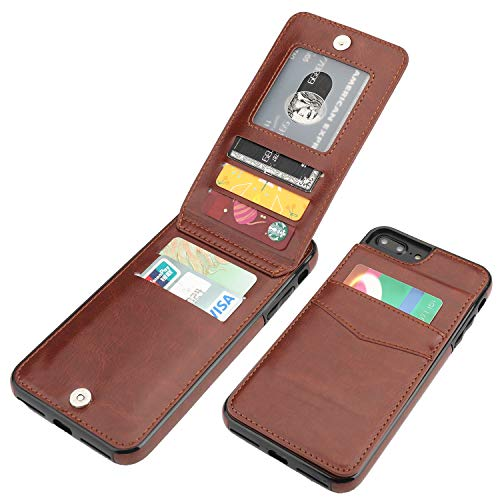 iPhone 7 Plus iPhone 8 Plus Case Wallet with Credit Card Holder, KIHUWEY Premium Leather Magnetic Clasp Kickstand Heavy Duty Protective Cover for iPhone 7/8 Plus 5.5 Inch(Brown)