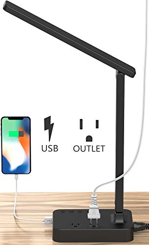 Drevet LED Desk Table Lamp with 1 USB Charging Port and 2 AC Power Outlet, 3 Color Model, 3 Level...