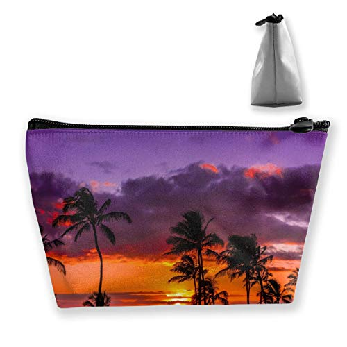 Hipiyoled Newport Beach Sunset Coconut Tree Red Purple Pencil Case Bag Zipper Bag Coin Bag Makeup Bag Pouch Storage Bags Large Capacity Pen Holders for Children School Kids Boys Girls Women Gift