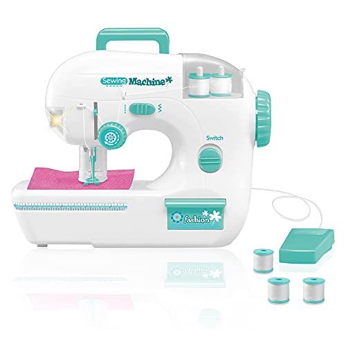 deAO 'Mi Primera Máquina de Coser' Juguete Infantil con Funciones Realistas, Luz, Pedal y Accesorios Incluidos Conjunto Kit de Manualidad Infantil Diseño Textil DIY