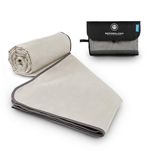 BERGBRUDER Microfaser Handtücher - Ultraleicht, kompakt & schnelltrocknend - Mikrofaser Handtuch, Reisehandtuch, Sporthandtuch (M 120x60 cm, Beige-Grau)
