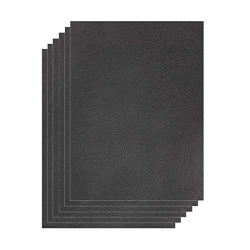 uyoyous Leder Reparatur Patch, 6 Stück Leder Patch Kit Selbstklebende Lederflicken, 15 x 25 cm Lederaufnäher Lederreparatur Set für Couch Sofa Autositze Handtasche Zubehör - Schwarz