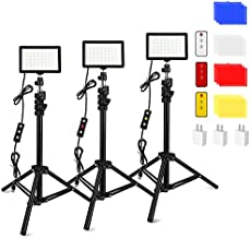 3 Packs 70 LED Video Light with Adjustable Tripod Stand/Color Filters/USB Wall Charger, Obeamiu 5600K USB Studio Lighting Kit for Tablet/Low Angle Shooting, Collection Portrait YouTube Photography