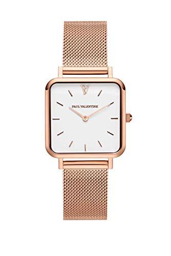 Paul Valentine Damenuhr - Glossyedge Rose Gold White Mesh - Eckige Frauen Uhr kratzfestes Glas und Quarzwerk Uhrenwerk, Armbanduhr Damen Rosegold