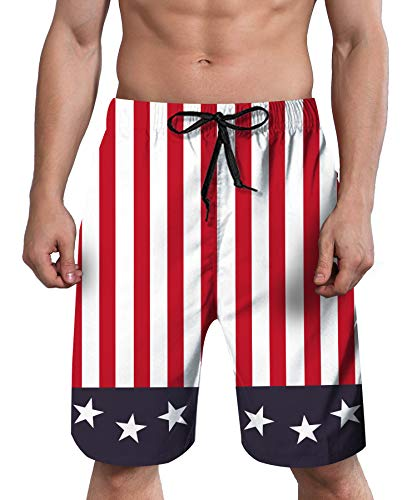 ALISISTER Men American Swim Trunks Flag Quick Dry Board Shorts 90S USA Star Striped Beach Boardshorts Mesh Lining Big Tall Summer Surf Swimwear 4th of July Independence Bathing Suit Black and White