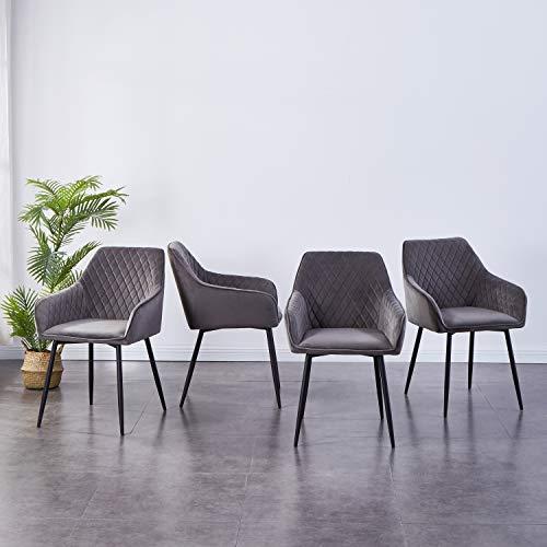 JYMTOM Esszimmerstühle 4er Set Küchenstuhl Polsterstuhl Wohnzimmerstuhl Sessel mit Rückenlehne Armlehne Metallbeine,Grau 4pc