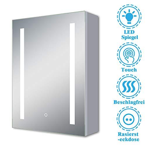 AicaSanitär LED Spiegelschrank mit Steckdose 60×80 cm Touch, Beschlagfrei, Aluminium, Kaltweiß, Softclose, DREI Stauräume