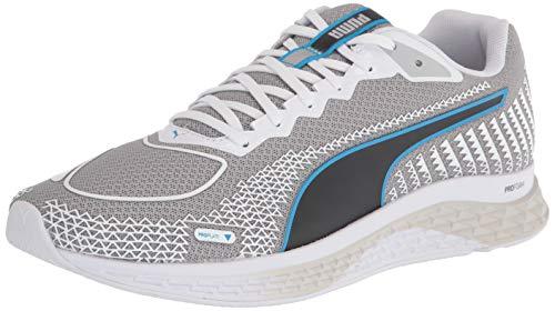 PUMA mens Speed Running Shoe, Puma White-nrgy Blue, 8 US