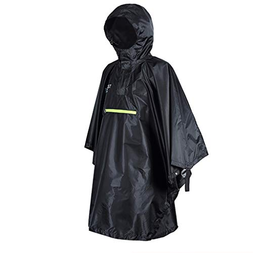DALUXE wasserdichte Regen-Poncho Radfahren Fahrrad Raincoat Reflektor-Streifen-Regen Großer leichte wasserdichter Multifunktions-Regenmantel,Schwarz