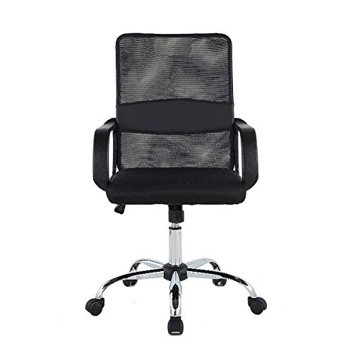 Halter Ergonomic Executive Mesh Office Chair, Adjustable Height & Tilt for Comfort, Thick, Compact Seat Cushion, Smooth-Glide Wheels, Durable Chrome Base, Easy Assembly (Black)