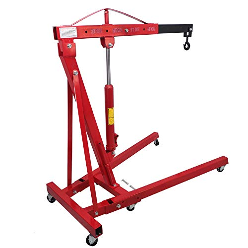 HTTMT- Engine Motor Hoist Cherry Garage Lifting Picker Crane Lift 4000 lb Capacity Red Cherry Picker Jack Engine Hoist With Hook [P/N: ET-CAR-FIX005-2T-RED]