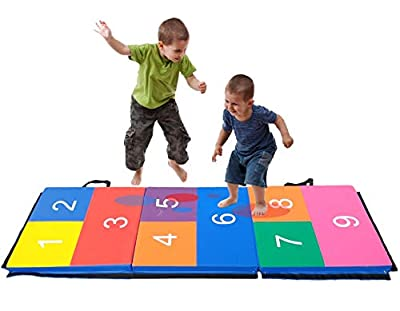 """Pro-Gymnastics Exercise Mat 6'x2' Tri-Fold 2"""" Thick Count Hop Scotch Kids Number Educational Play Mat Folding Tumble Mat, 2 Carrying Handles for Gymnastics, Aerobics, Home Gym Protective Flooring"""