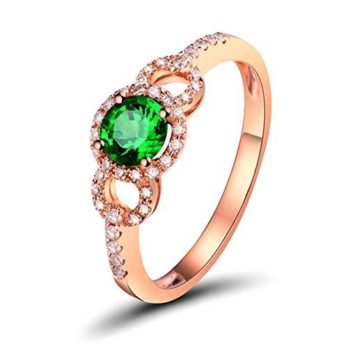 Daesar Anillo de Oro Rosa 18K Mujer,Redondo con Tsavorita Verde 0.45ct Diamante 0.17ct,Oro Rosa Verde Talla 6,75