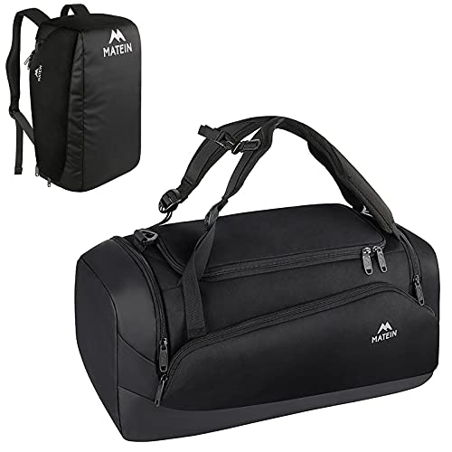 MATEIN Gym Bag for Men, Large Gym Backpack Sports Bag with Shoes Compartment, 3 Way Waterproof Workout Duffel Travel Duffle Bag, 45L Travel Backpack Weekender Carry On Fits 15 inch Laptop, Black