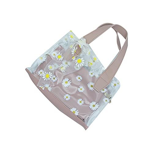 Mask.ok Borsa borsetta da donna con disegno margherite in simil pelle e PVC trasparente impermeabile tracolla da spiaggia mare lago vari colori (Rosa)