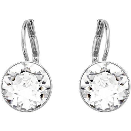 Swarovski Bella Mini Ohrringe, Weiße und Rhodinierte Ohrhänger mit Funkelnden Swarovski Kristallen