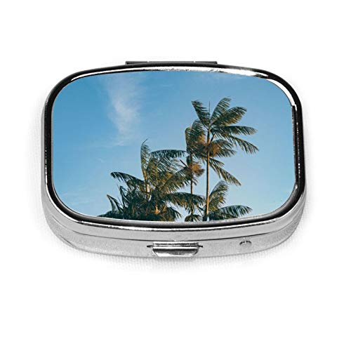 Palm Trees Leaves Pill Box Pill Organizer Travel Medicine Case 2 Compartments Daily Portable for Purse Pocket Idea Gift