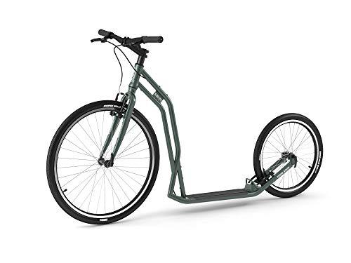 Yedoo S2620 Tretroller - bis 130 kg, Kickscooter mit Luftreifen 26/20 - Big Wheel Roller Scooter für Erwachsene, Dogscooter (grün)