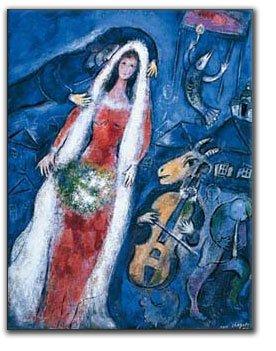Artopweb Chagall La Mariee,1950-68x53 cm Decorative Panel, MDF (Mitteldichte Holzfaserplatte), Papier, Bunt, 53 x 68 cm