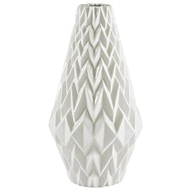 Rivet Modern Geometric Pattern Stoneware Vase, 12.25 H, White