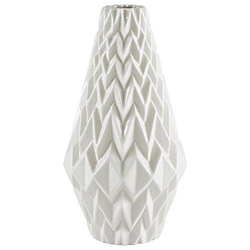 Rivet Moderne, dekorative Steinzeug-Vase mit geometrischem Muster, großer Hingucker, 31,1 cm hoch, Weiß