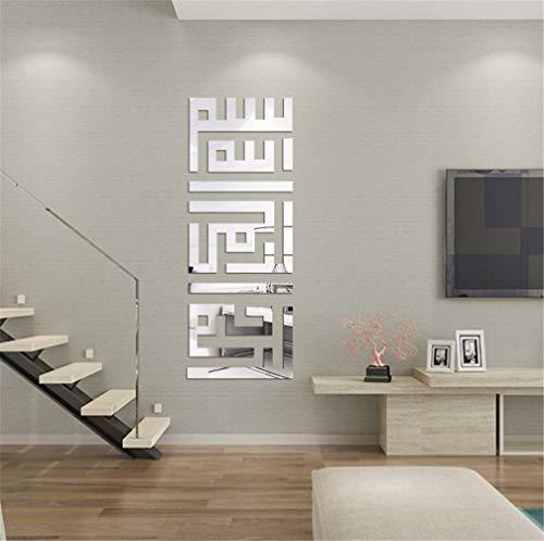 Muslimische Islamische Poster 3D-Acrylspiegel, Spiegel, selbstklebend, Fliesen, Spiegel, Wandaufkleber, Hintergrund-Dekoration, für Kinderzimmer, Schlafzimmer, Wohnzimmer Silber