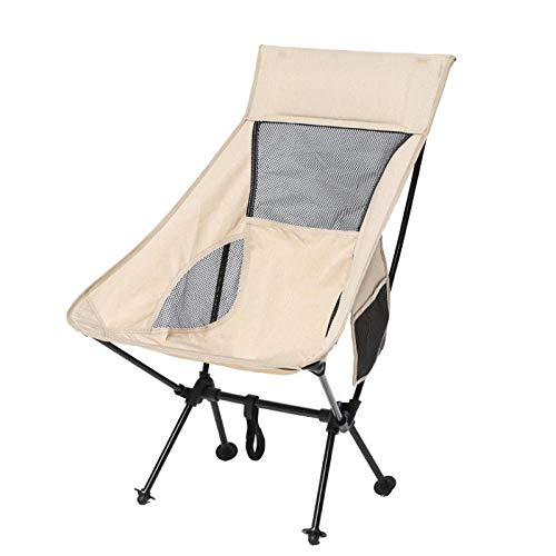 Aerlan Packable Lightweight Backpack Chair,Outdoor folding chair, ultra-light portable chair-Beige,Camping chair outdoors and picnic
