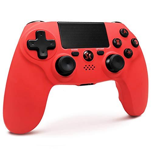 Mando PS4 Inalambricos, Mando para PS4 Inalámbrico Bluetooth Dual Shock Gamepad de Doble Vibración SIX-AXIS con Touch Pad & Conector de Audio para PlayStation 4 /PS3/PC (Rojo)