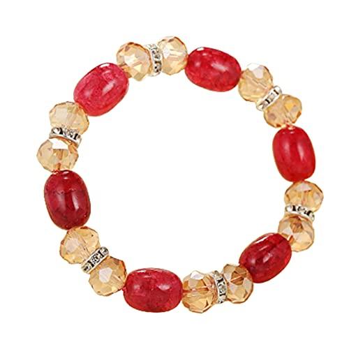 XPT Pulsera para mujer, imitación de ágata agrieta, para combinar con estilo vintage, elegante, elástico, encantador, pulsera para la vida cotidiana, color rojo