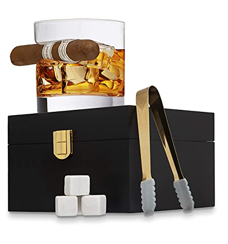 Godinger Cigar Whiskey Glass Wooden Gift Box Set with Old Fashioned Glass, Cooling Whiskey Stones and Tongs Bar Set