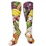 XIEABC Calcetines largos atléticos, para hombres, mujeres, adolescentes, niñas, calcetines, informales, vegetales, veganos, frutas, leggins