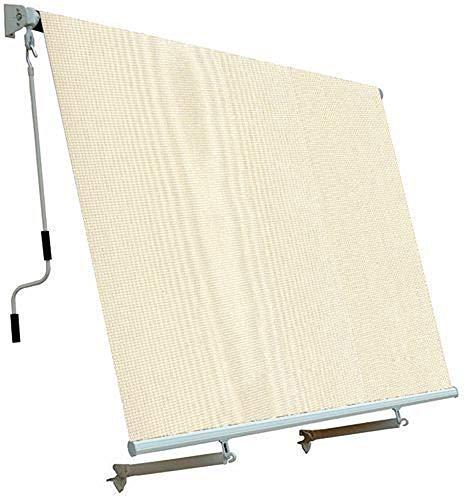 Megashopitalia Tenda da Sole da Esterno per Balcone con Sistema a Caduta Veranda con Bracci in Alluminio Ecrù Soffitto o Parete (200x250CM)