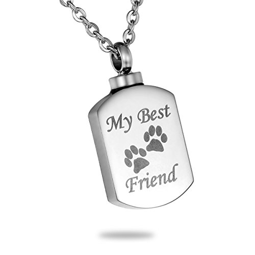 HooAMI My Best Friend Pet Paw Urn Necklace Keepsake Memorial Cremation Jewelry with Personalized Engraving