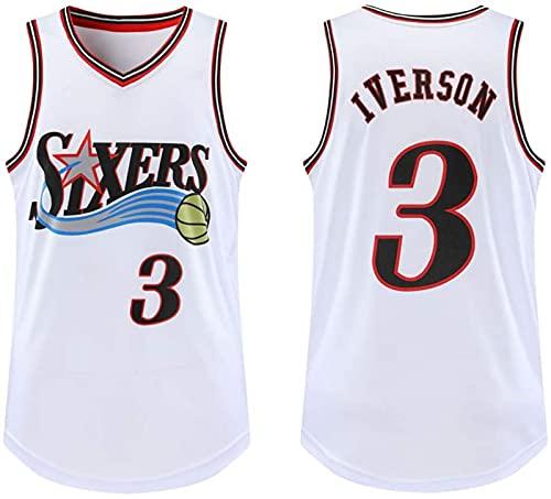 LZ123456 T-Shirt Uomo Jersey #3 Allen Iverson Philadelphia 76Ers Mitchell And Ness Uomo Atletica Retro Basket