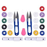 HEALLILY 2 Sets Mini Kit de Costura DIY Suministros de Hilo de Coser Hechos a Mano con Hilo de Coser Cinta Métrica Conjunto de Agujas para Principiantes