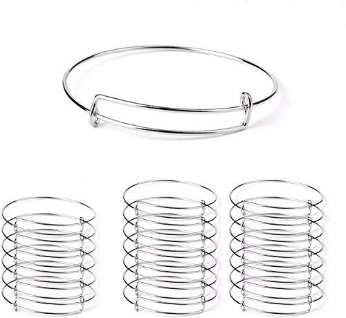 Sansheng 20pcsExpandable Bangle Bracelets Adjustable Wire Blank Bangles Metal Bracelets for DIY Jewelry Making (2.6 inches)