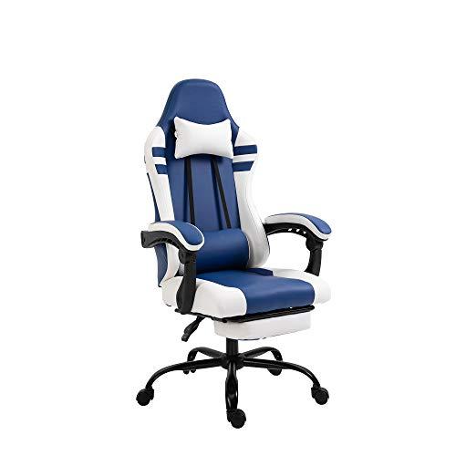 Vinsetto Poltrona Gaming da Ufficio in Similpelle Blu e Bianca Regolabile e Reclinabile 160° con Cuscini e Poggiapiedi