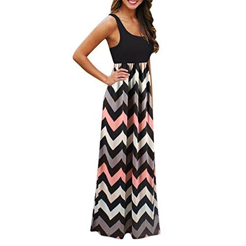 JYC Vestidos Largos, Vestidos Mujer Verano 2018 Mujer Rayado Largo Boho Vestido Lady Beach Verano Sundress Maxi Vestido de Talla Grande Vestidos Largos de Fiesta (M, Negro)