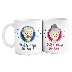 Geschenk beste Oma – Geschenk bester Opa - beste Oma der Welt Tasse/bester Opa der Welt Tasse - beste Oma bester Opa Tassen mit GRATIS Glückwunschkarten – Geschenk beste Oma/bester Opa von MyOma