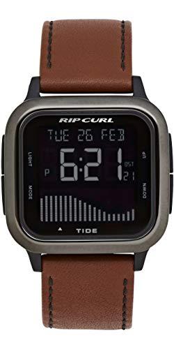 RIP CURL Reloj de Cuero para Hombre Next Tide - Gunmetal - Ligero, Resistente al Agua y Resistente al Agua - Sport