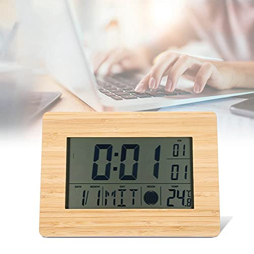 Emoshayoga Reloj, Reloj Digital LCD Automático Electrónico con Repetición para El Hogar para Escritorio para Decoración para Dormitorio Habitación Infantil