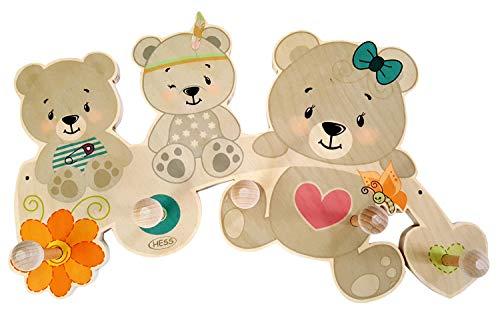 Hess Holzspielzeug 30347 - Appendiabiti in legno, serie bear nature, con 5 ganci, per bambini, fatto a mano, come un eye-catcher nella camera di ogni bambino e corridoio