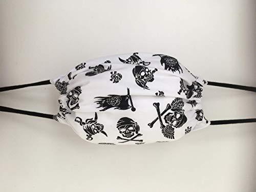 Maske Mundschutz Stoffmaske schwarz weiß Pirat Totenkopf Schädel Skelett Skull Bart Bartträger