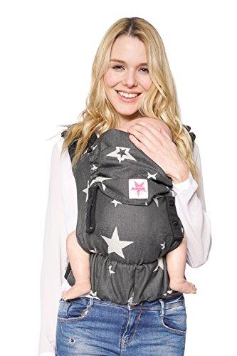 Babytrage: KOKADI® Flip - Diorite Stars - Babysize für Neugeborene & Kleinkinder von 3,5 bis 15 kg ✓ Ergonomisch ✓ Mitwachsend ✓ Bio-Baumwolle ✓ GRATIS Transportbeutel