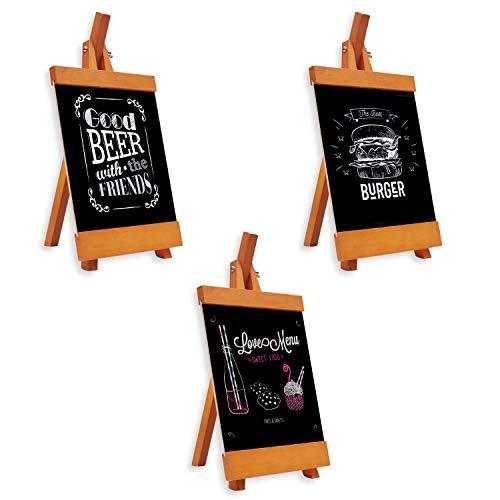 Mini Kreidetafel Aufsteller (3 Stücke) - 21 x 16cm Mini Holz Tafel Set Memotafel für Tischkarten, Platzkarte, Buffet Party Deko Vintage Hochzeit Party Tischdeko
