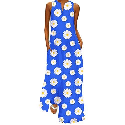 Dasongff Vestido largo de verano para mujer, suelto, de lino, con estampado de flores, sin mangas, cuello en V, holgado, caftán, vestido largo bohemio para la playa