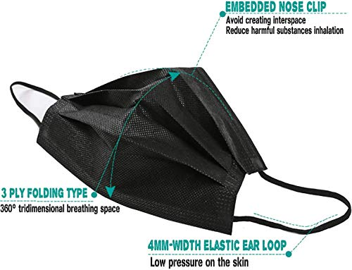 La 'Forte 3 Ply Mask with Nose Clip, hygienically packed in smart pull dispenser box (Black, 100)