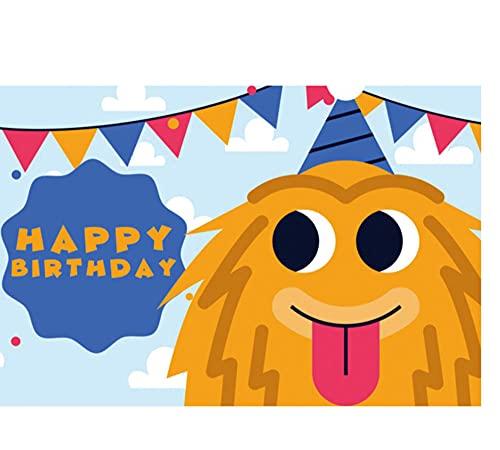 7 pies × 5 pies ojos grandes amarillo pequeño monstruo telón de fondo Baby Show Party banquete decoración cielo nube bandera cumpleaños sombrero niños foto fondo